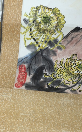 Rollbild China signiert Hahn Aquarell