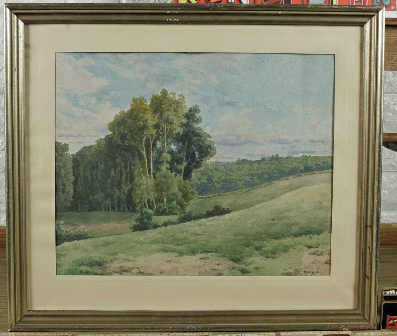 Louis Oury antikes Aquarell Landschaft